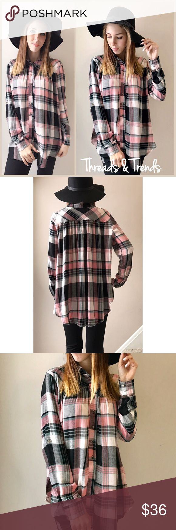 Pink Plaid Flannel Blouse Super soft oversized babydoll style pink & black Plaid flannel button down blouse. So soft and flows. Great quality. Size S/M, M/L, L/XL Threads & Trends Tops Blouses
