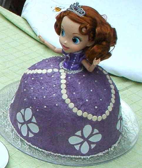 Cake Images Of Sofia The First : Sofia the First doll cake: Wilton White Sugar Pearls ...