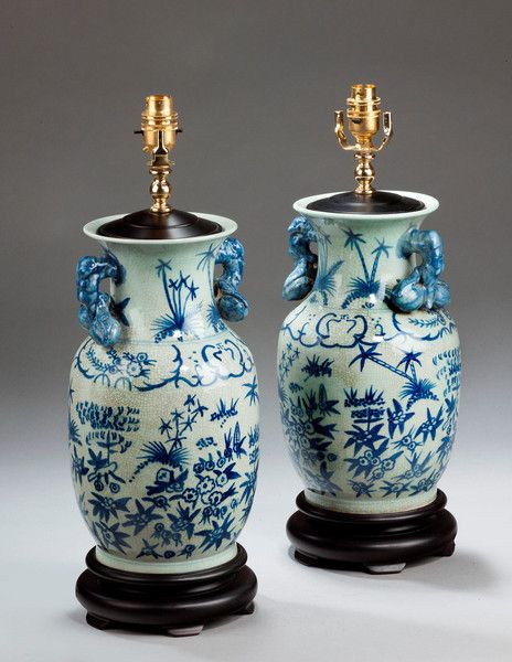 Pair Of Crackleware Ovoid Lamps (Ref No. 5158) - Windsor House Antiques