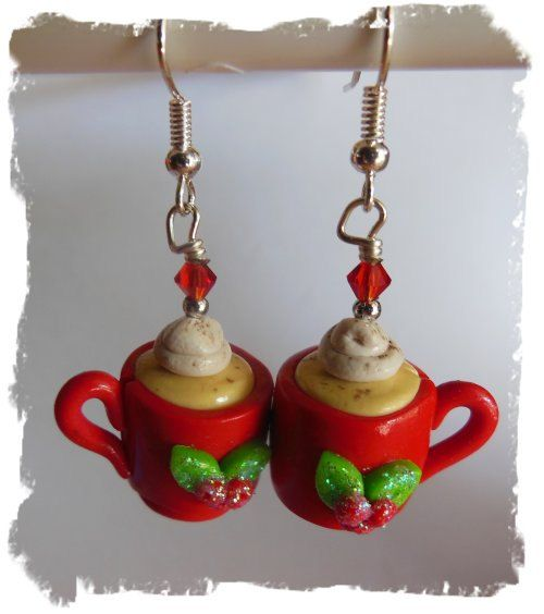 Polymer Clay Christmas Egg Nog Cup Earrings on Etsy, $5.00