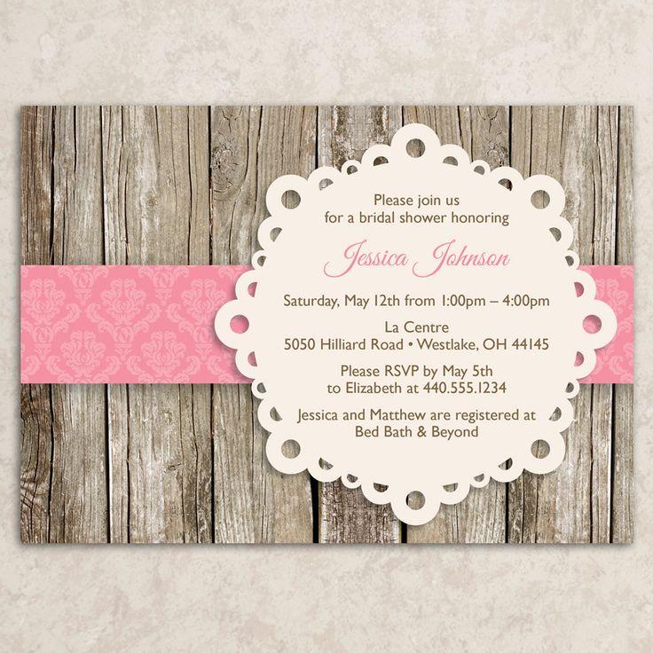 Rustic Bridal Shower Invitation Vintage Bridal