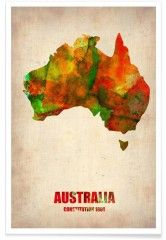 Australia Watercolor Map - Premium Poster