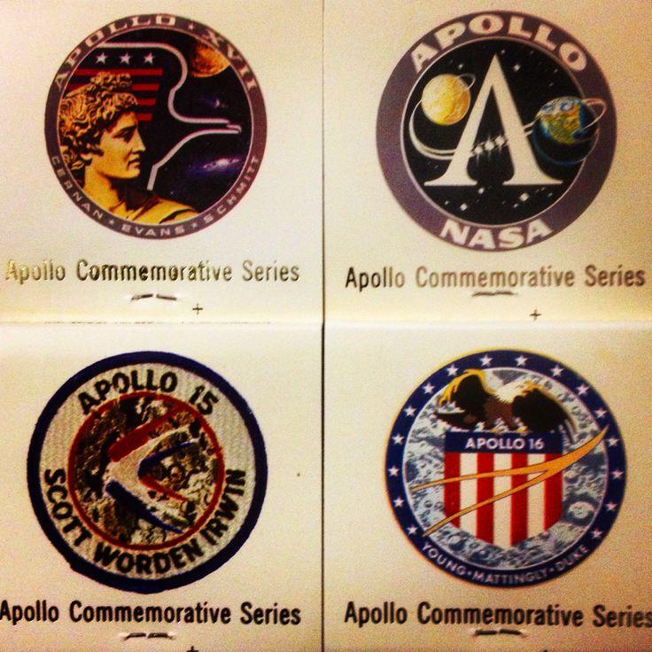 A collection of Apollo insignias on matchbooks. #astronaut #apollo #nasa #space
