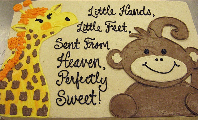 boy baby shower animal sheet cake.....like this but a framed painting with the kids feet and this saying!