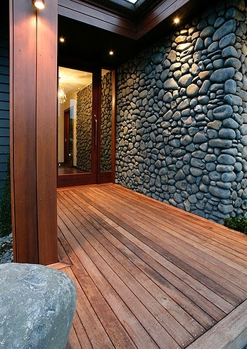 Nice feature - stone entrance following through to interior. Penny Homes Showhome - The Lakes, Tauranga NZ