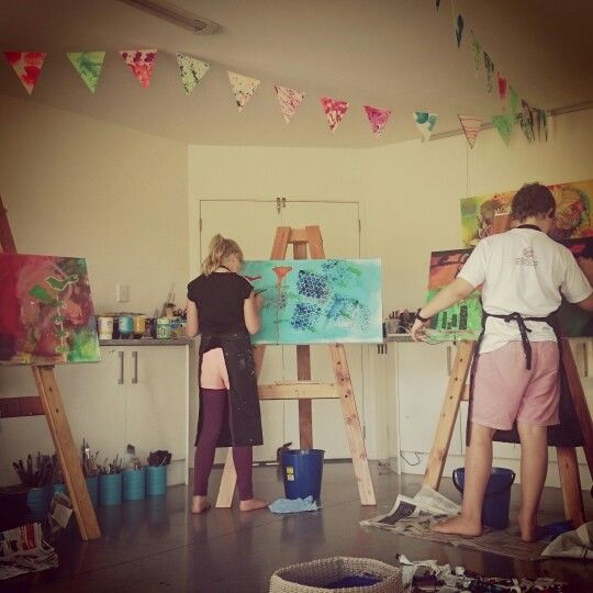 Love the energy of this childrens intuitive painting class in my studio