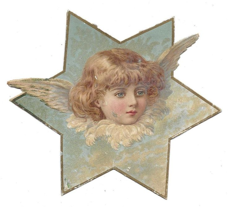 Victorian Die Cut Scrap Angel in a Star with Mica: