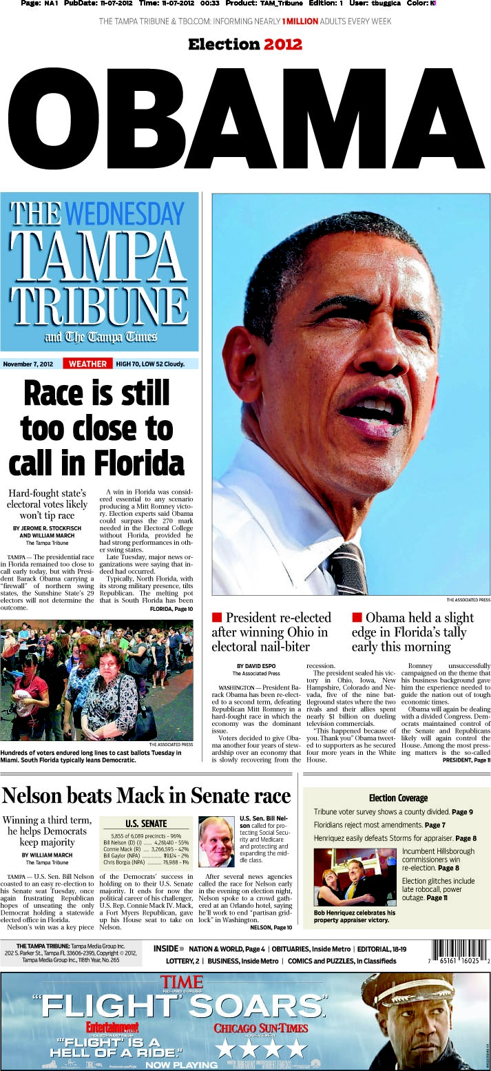 Obama Wins - front page of The Tampa Tribune #election2012