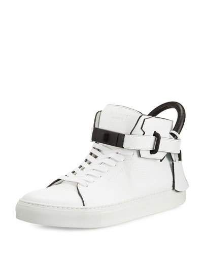 Buscemi+100mm+Men's+Leather+High+Top+Sneakers+White+|+Shoes+and+Footwear