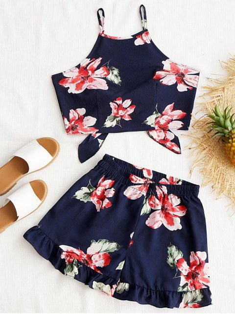 1e022e09d5 Shop for Floral Cami Crop Top with Shorts Set PURPLISH BLUE  Two-Piece  Outfits S at ZAFUL. Only  13.99 and free shipping!