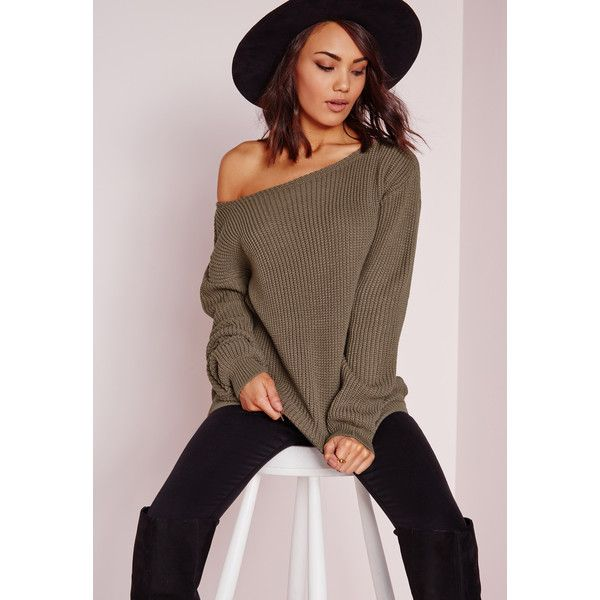 Missguided Off Shoulder Jumper ($27) ❤ liked on Polyvore featuring tops, sweaters, taupe, jumpers sweaters, taupe sweater, brown sweater, off the shoulder jumper and taupe tops