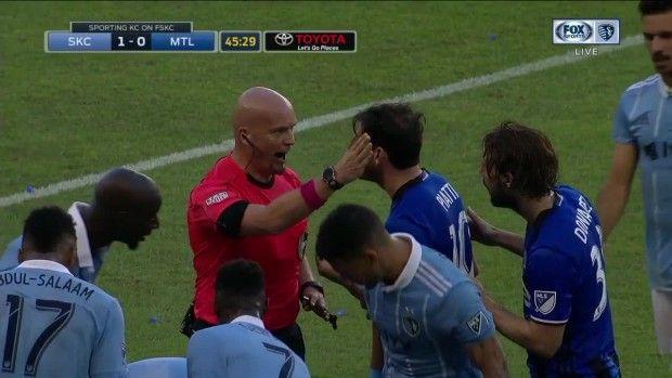 #MLS  YELLOW CARD: Ignacio Piatti runs through Roger Espinoza