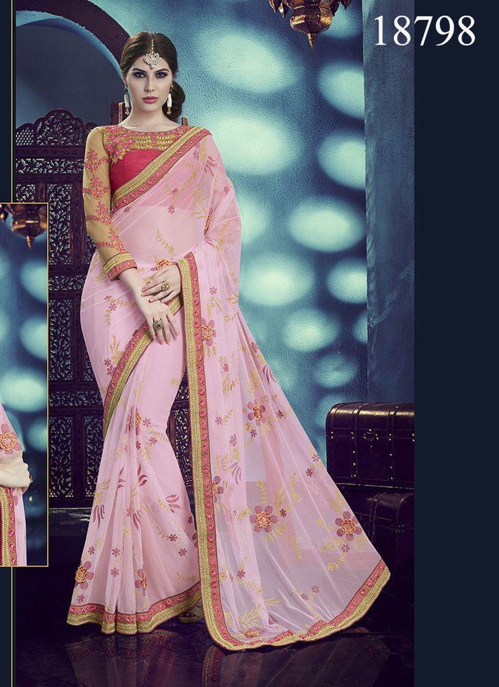 Bollywood Saree Designer Pakistani Wedding Dress Ethnic Indian Sari Partywear #TanishiFashion #DesignerSaree