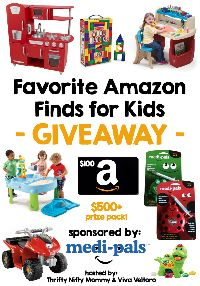 "Enter to #win the MediPals ""Favorite Amazon Finds for Kids"" #Giveaway! The prize pack, valued at over $500, includes a $100 Amazon Gift Card, a KidKraft Retro Kitchen, a Power Wheels Quad, a Step2 Deluxe Master Art Desk, a Step2 Splash and Scoop Bay, a Melissa & Doug Wooden Blocks Set, a Vtech Chomp and Count Dino, AND two Medi-Pals dispensers (Freddie the Frog and Lilly the Ladybug)! Ends March 16 (11:59pm EST)."