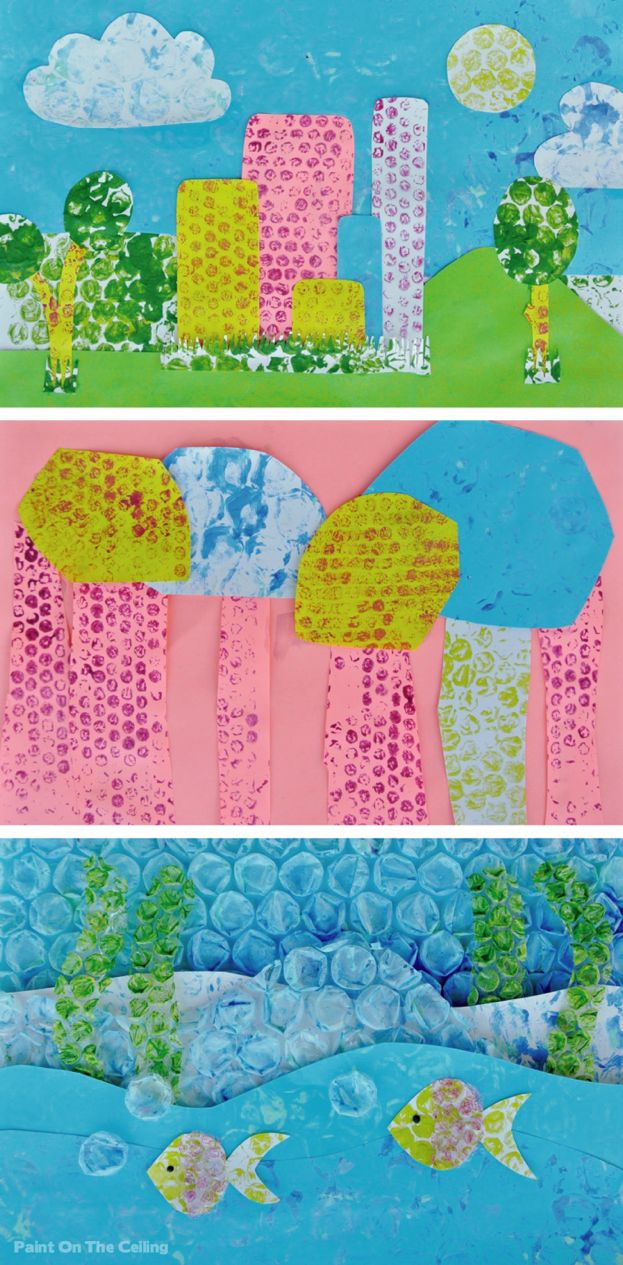 Paint On The Ceiling: Bubble wrap printing & collage. Gorgeous mixed media art for kids.