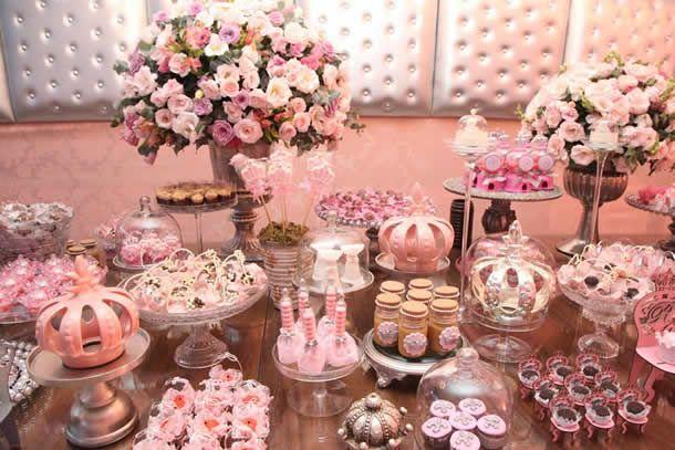 festa menina princesa, princess party, girls party, festa rosa princesa, detalhes decoração festa princesa, decoração mesa de doces,