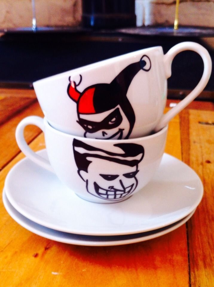 Joker and Harley Quinn (Batman) Tea Cups by TeaatPearls on Etsy https://www.etsy.com/listing/206642708/joker-and-harley-quinn-batman-tea-cups