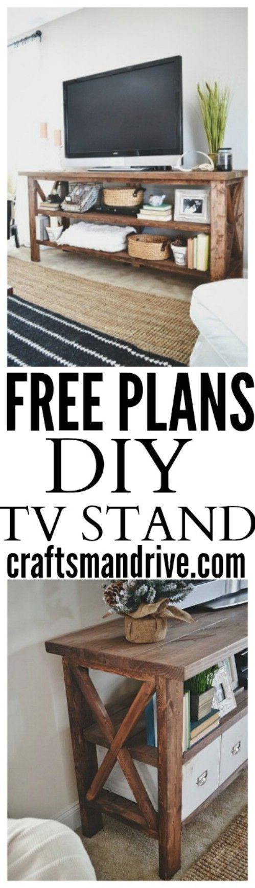 Media console - 50 Decorative Rustic Storage Projects For a Beautifully Organized Home