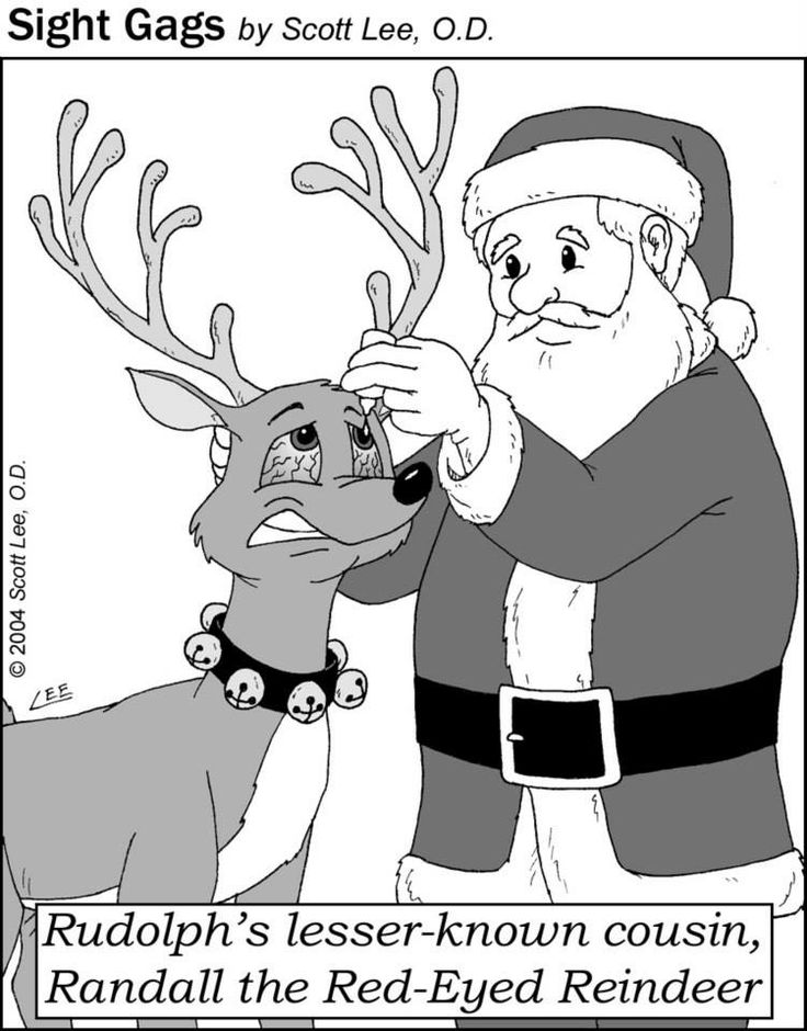 Randall the Red-Eyed Reindeer. Sight Gags.
