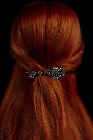 Steampunk Key Barrette Hair Clip -I love anything that has to do with keys! (Her hair color is nice too!)