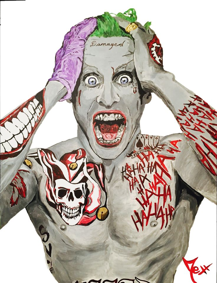 Joker from suicide squad 150 115cm damaged joker art for Joker damaged tattoo