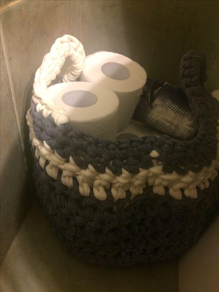 Canasto tejido para baño - Crochet