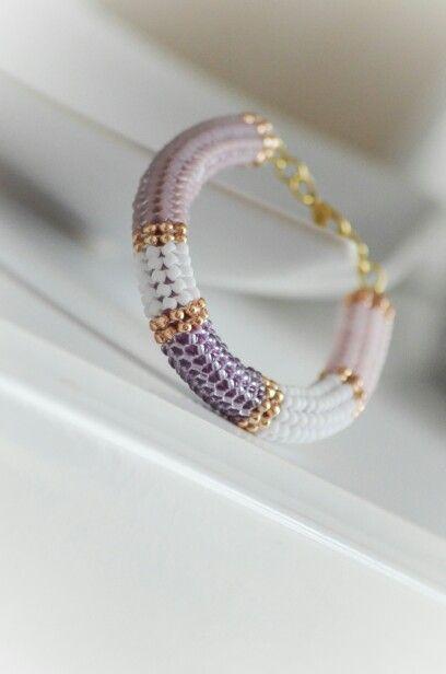 My beaded bracelet pink herringbone stitch toho Etsy.com/shop/braccialeart