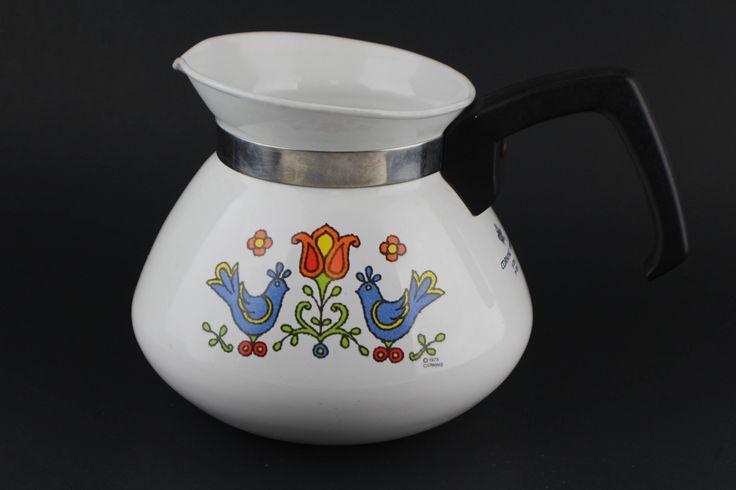 Corning Ware Coffee Tea Pot 6 Cup Country Festival Friendship Bluebird Vintage 1975 Blue Bird Red Flower Tulip by HaciendaVilla on Etsy