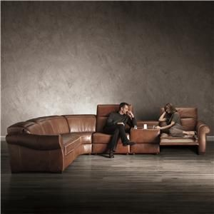 The ultimate in function, fashion, and comfort, this sectional sofa caters to your group lounge experience Marked by smooth sock arms and exposed wood feet, this sofa brings a sleek, transitional style to your living room setting. Its supple leather upholstery is soft and resilient, while its reclining chair on the right and adjustable headrests throughout provide head-to-toe support. To top it off, a storage console with cupholders makes it easy to eat and drink while in the comfort of your…