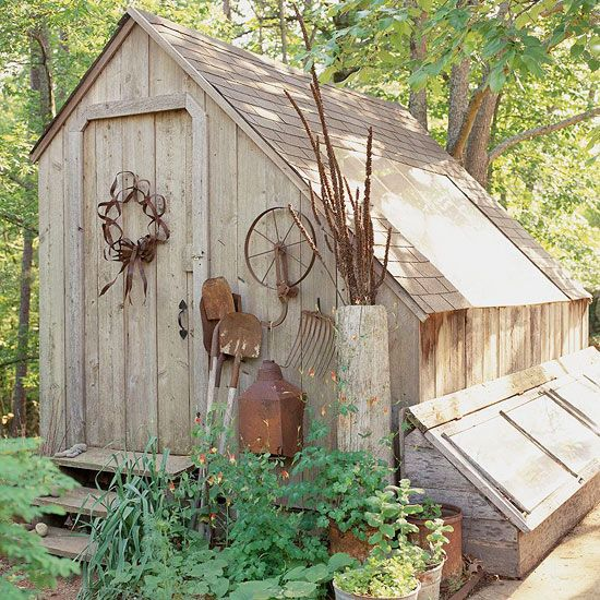 Saltbox Potting Shed - Nearly any architecture style can be adapted to create a potting shed. Here, a simple New England saltbox potting shed features a slanted roofline (with clear panel to gather the sun's rays) that accommodates ample storage of garden tools, pots, and other supplies.