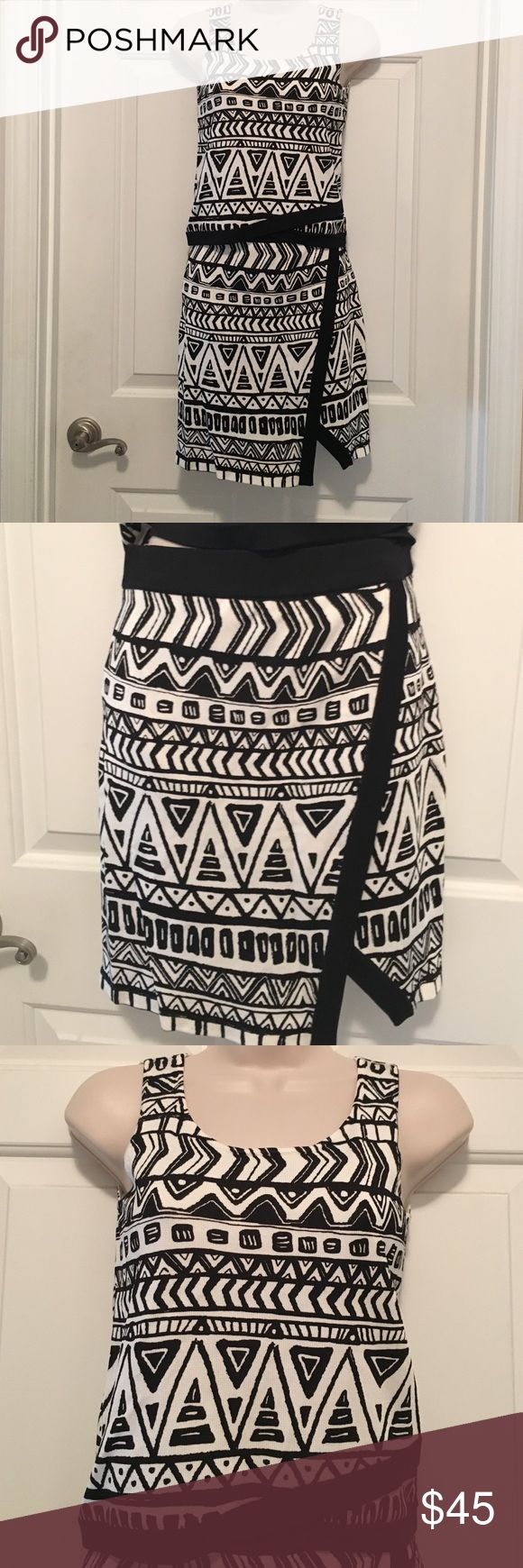 INC Skirt and top set.  Black and White.  Size PP INC International Concepts black and white patterned skirt and top. Size Petite/Petite.  Never worn!!  Perfect condition!!  Very comfortable.  Skirt has a soft, comfortable waist band and slips on. No zippers or buttons. Top pulls on as well.  Skirt has a sexy little slit at the leg. Can wear these pieces separately with other top or bottom for additional wardrobe options.  From clean, smoke-free home. INC International Concepts Skirts Skirt…
