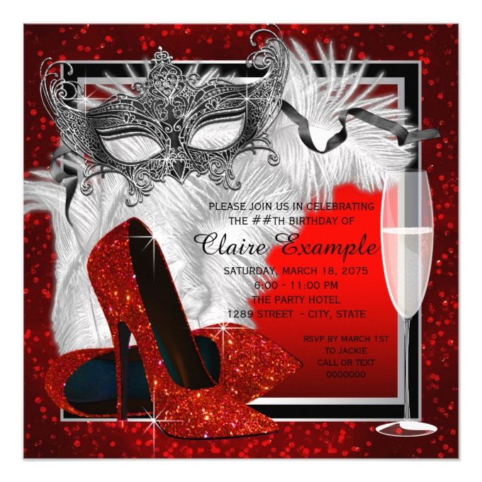 womans red and black masquerade birthday party invitation 40th