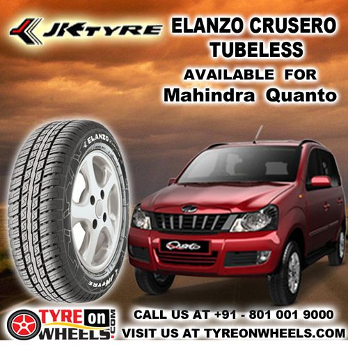 Buy Mahindra Quanto Tyres Online of JK Tyres Elanzo Crusero Tubeless Tyres and get fitted with Mobile Tyre Fitting Vans at your doorstep at Guaranteed Low Prices as only all India online Partner buy now http://www.tyreonwheels.com/tyres/JKTyres/ELANZO-CRU
