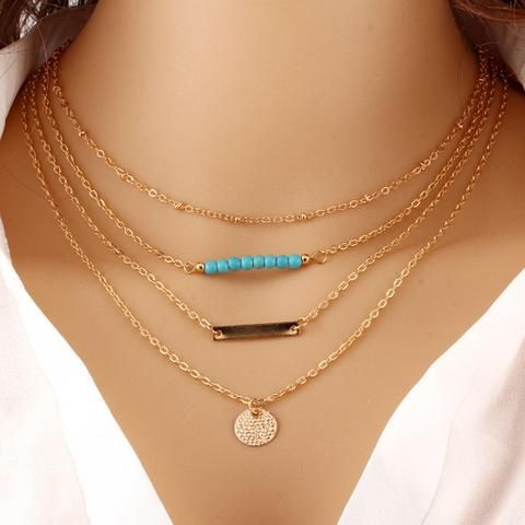 Fatima Gold-Plated 3 Layer Chain Bar Necklace Beads and Long Strip Pendant