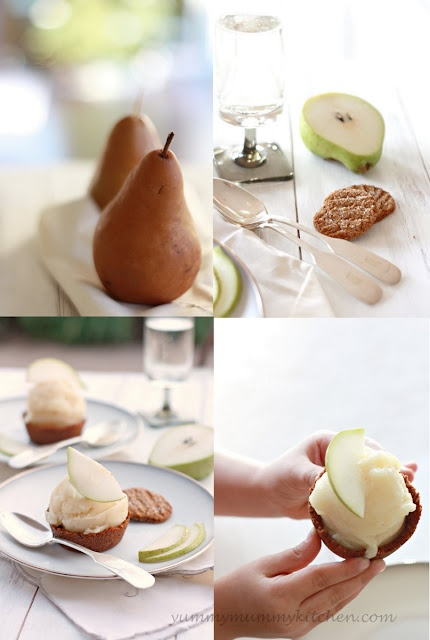 gingersnap pear sorbet cups.