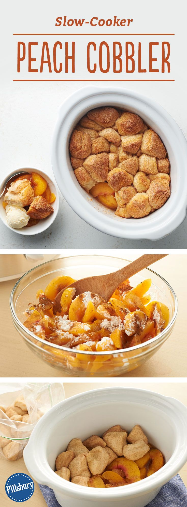 Slow-Cooker Peach Cobbler: This easy slow-cooker peach cobbler has just 5 ingredients and is finished in the oven for a delicious cinnamon and sugar biscuit-topped dessert.