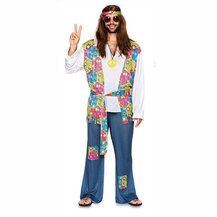 Comprar Disfraz adulto Chico Hippie Flores. Talla T-4.