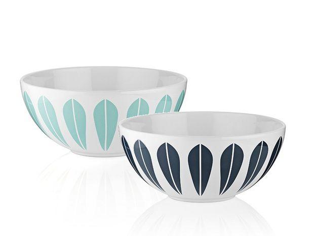 Skåler med Lotusmønster, designet av norske Arne Clausen i 1963. Fra 169 kr til 439 kr, Lucie Kaas.