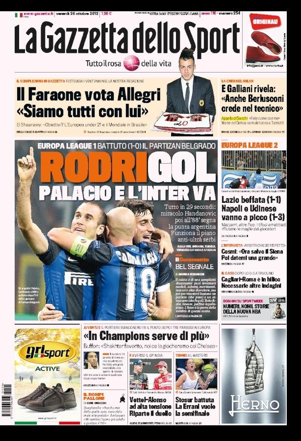 la prima pagina del 26 10 2012