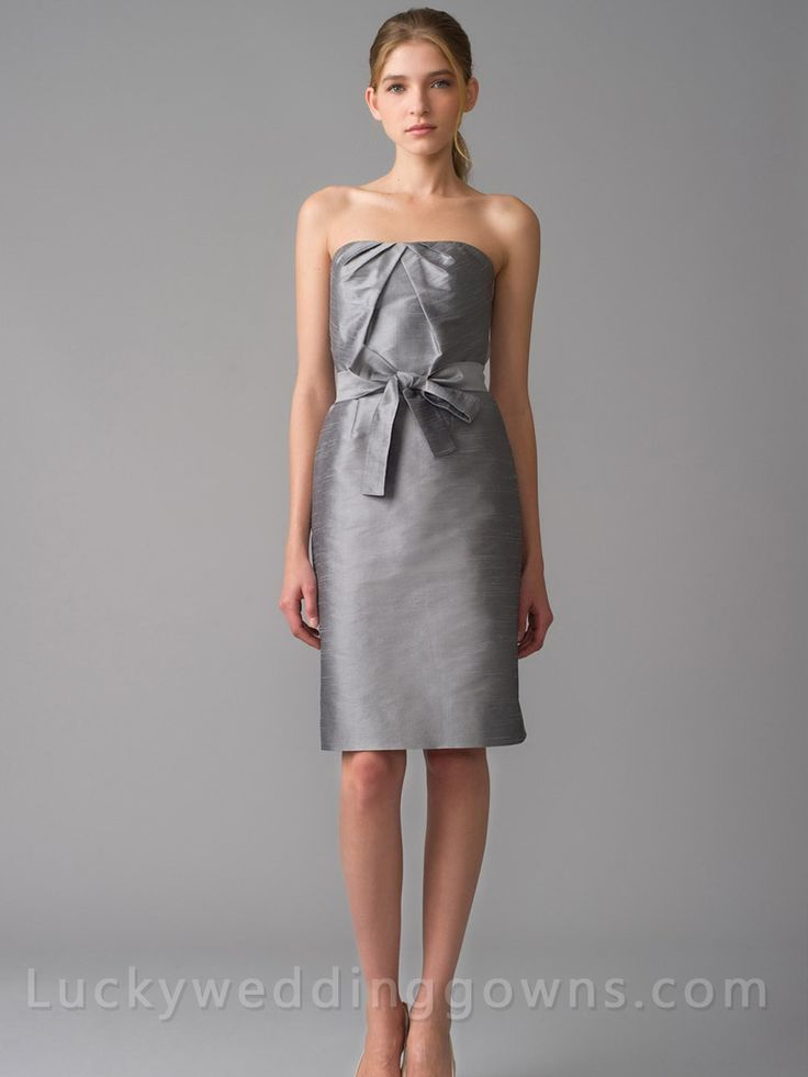 Simple Platinum Strapless Dupioni Pencil Bridesmaid Dress