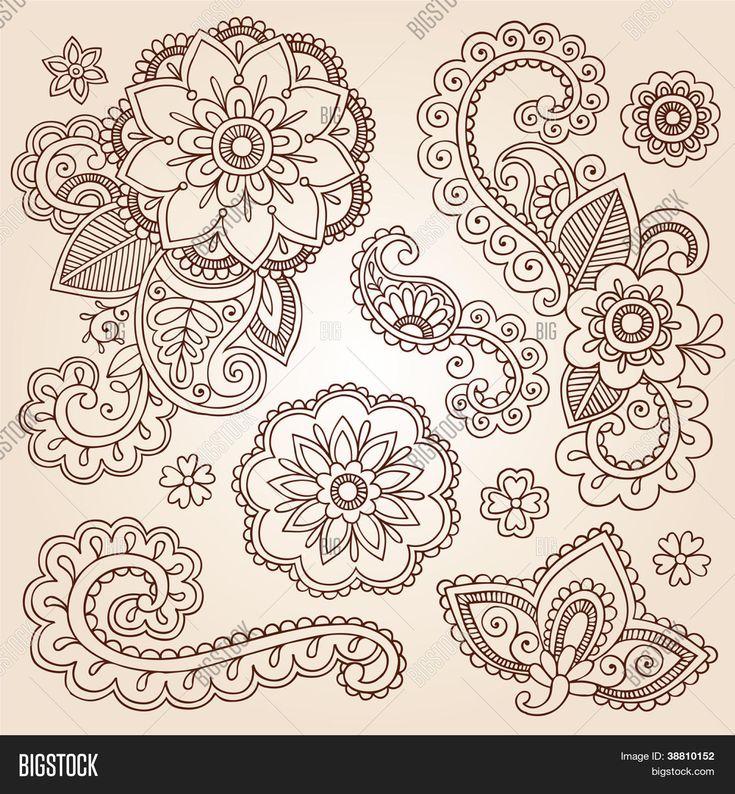 ヘナ ペイズリー花一時的な刺青入れ墨セット-抽象的な花のベクトル図のデザイン要素をいたずら書き