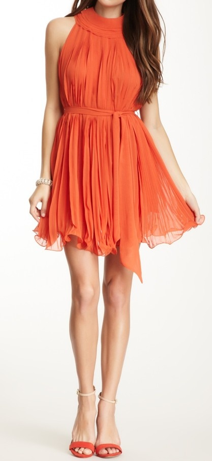 Coral pleated dress