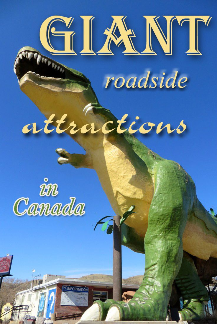 GIANT Roadside attractions. Fun for the whole family on a road trip in Canada looking at the world's biggest dinosaur, sausage, Easter egg, UFO landing pad and more.