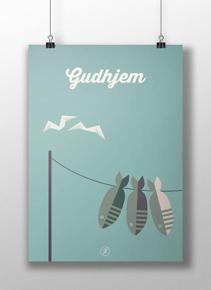 Gudhjem på Bornholm.  poster, design, art, illustration, adobe, artwork, Denmark