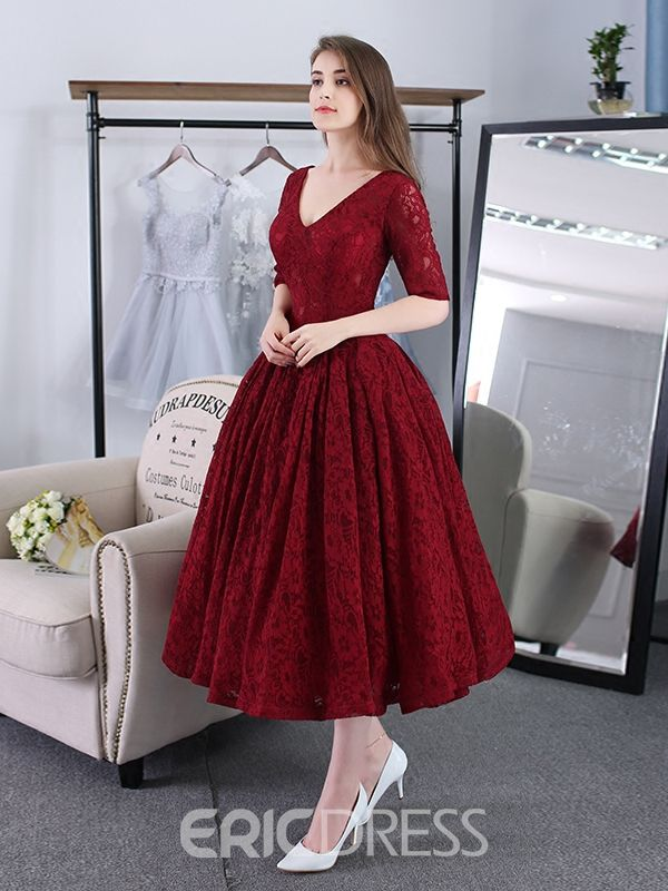 738290d3e Ericdress A-Line V-Neck Lace Tea-Length Evening Dress With Half Sleeves