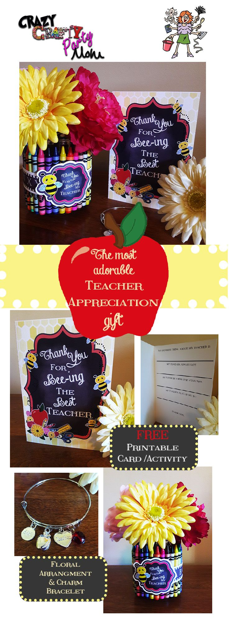 Teacher Appreciation Gift, Teacher Thank You Gift, Teacher Flowers, Teacher Thank You Card, Teacher Charm Bracelet.