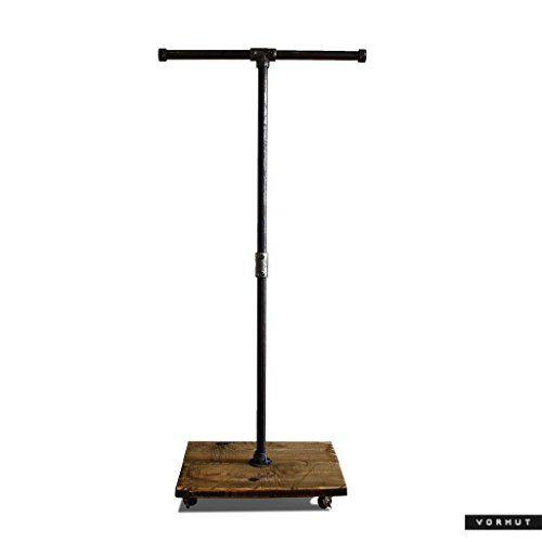 Vorhut 'Hadfield' - Vintage Industrial Scaffold Board T-bar Clothes Rail & Shoe Rack in Blackened Steel: Amazon.co.uk: Handmade