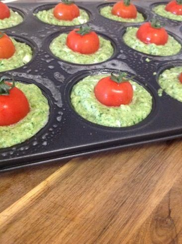 Goats cheese, spinach and cherry tomato muffins
