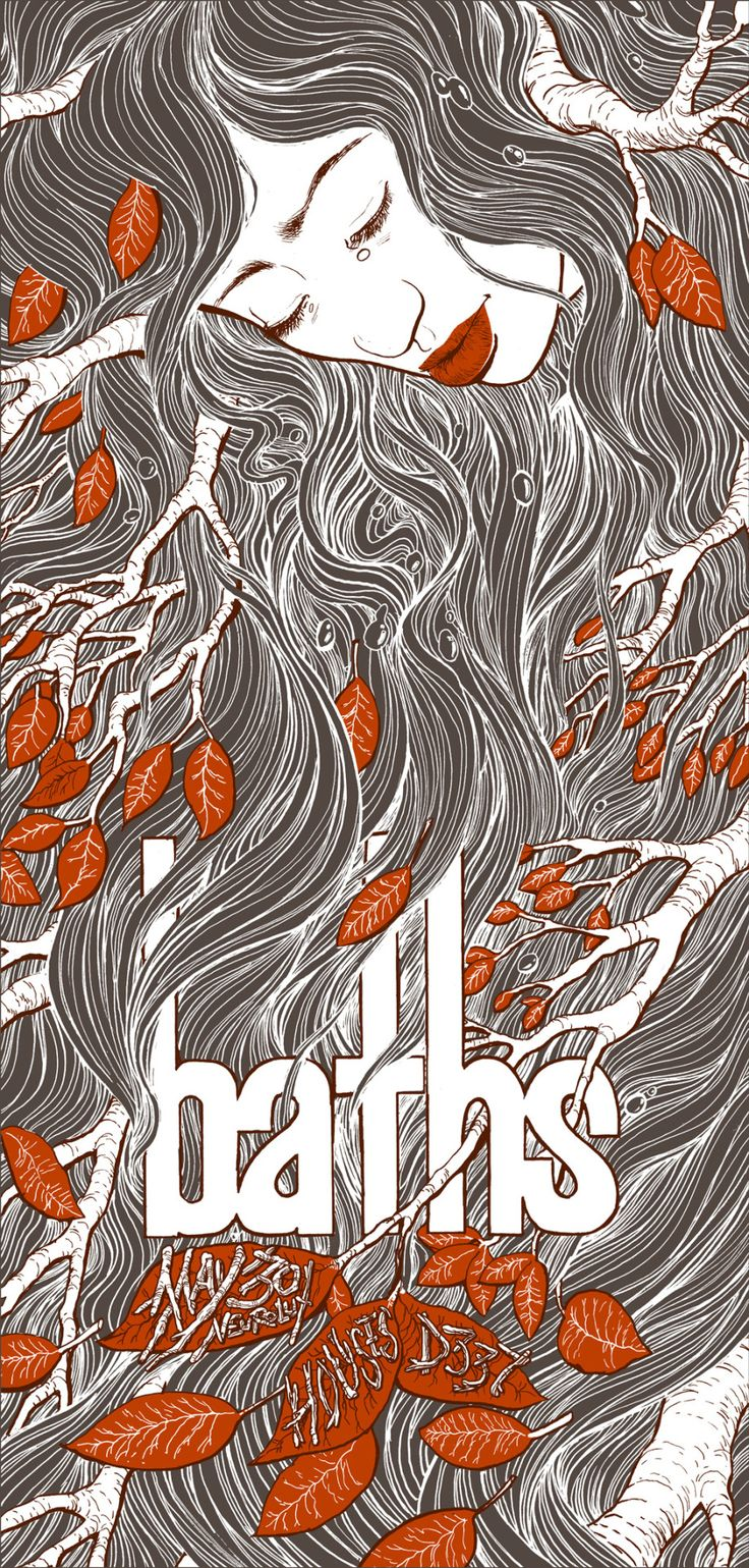 3 color poster designs - Baths Gig Poster 8x16 3 Color Screen Print On French Paper