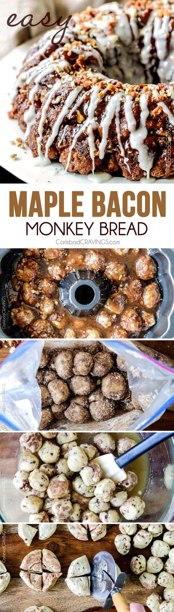 Maple Bacon Cinnamon Roll Monkey Bread made easy with refrigerated cinnamon rolls and made irresistible with maple crispy crumbled bacon pecans and a maple caramel topping. The perfect special occasion breakfast brunch or dessert!
